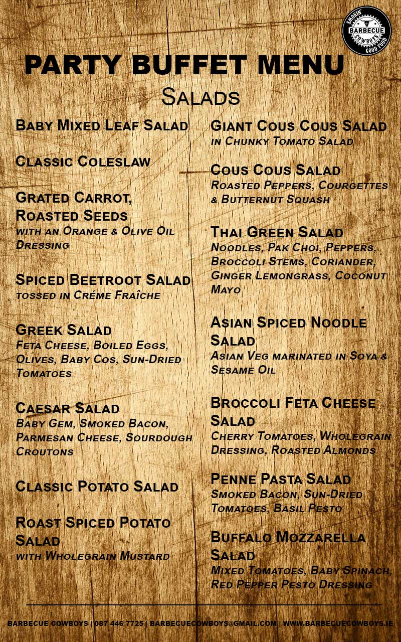 Sample Party Buffet Menu - Salads