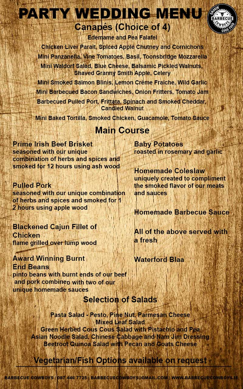 Sample Party Wedding Menu